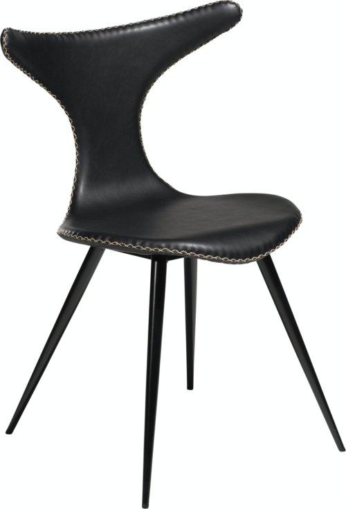 På billedet ser du variationen Dolphin, Spisebordsstol, Kunstlæder fra brandet DAN-FORM Denmark i en størrelse H: 83 cm. B: 56 cm. i farven Sort