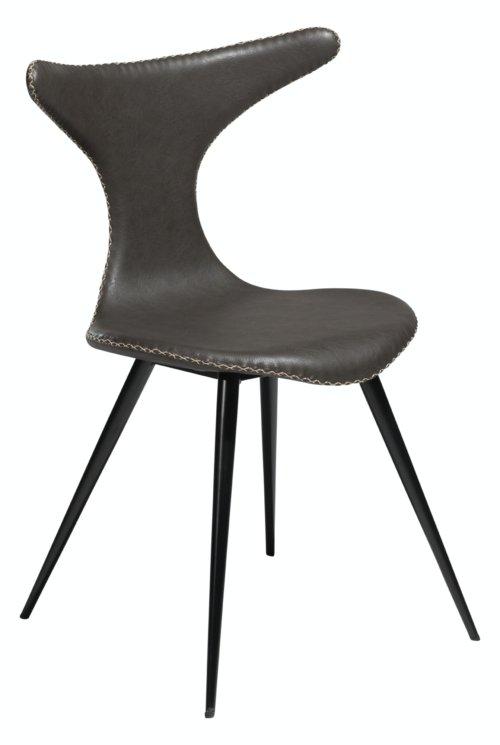 På billedet ser du variationen Dolphin, Spisebordsstol, Kunstlæder fra brandet DAN-FORM Denmark i en størrelse H: 83 cm. B: 56 cm. i farven Grå/Sort