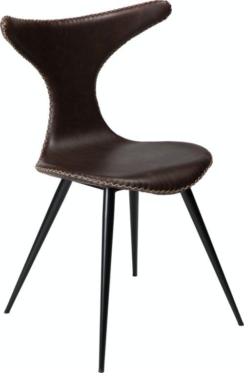 På billedet ser du variationen Dolphin, Spisebordsstol, Kunstlæder fra brandet DAN-FORM Denmark i en størrelse H: 83 cm. B: 56 cm. i farven Kakao/Sort