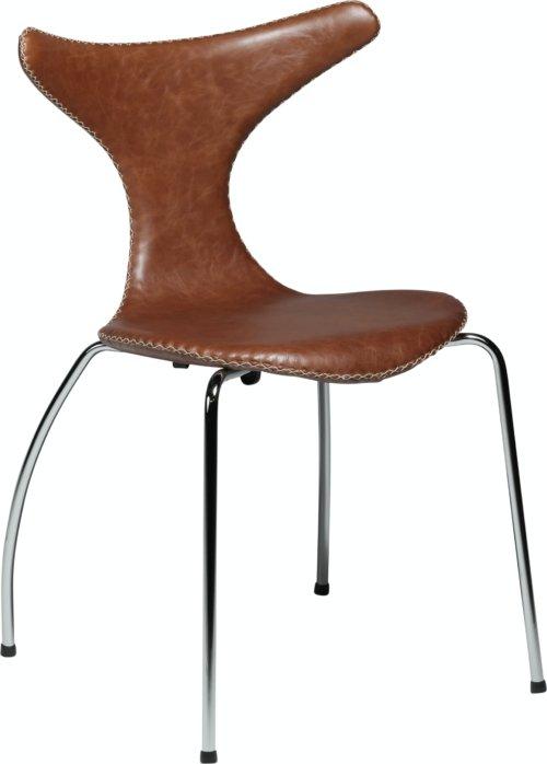 På billedet ser du variationen Dolphin, Spisebordsstol, Stålben, Læder fra brandet DAN-FORM Denmark i en størrelse H: 83 cm. B: 55 cm. i farven Brun/Sølv