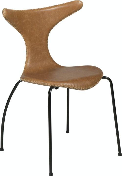 På billedet ser du variationen Dolphin, Spisebordsstol, Stålben, Læder fra brandet DAN-FORM Denmark i en størrelse H: 83 cm. B: 55 cm. i farven Brun/Sort