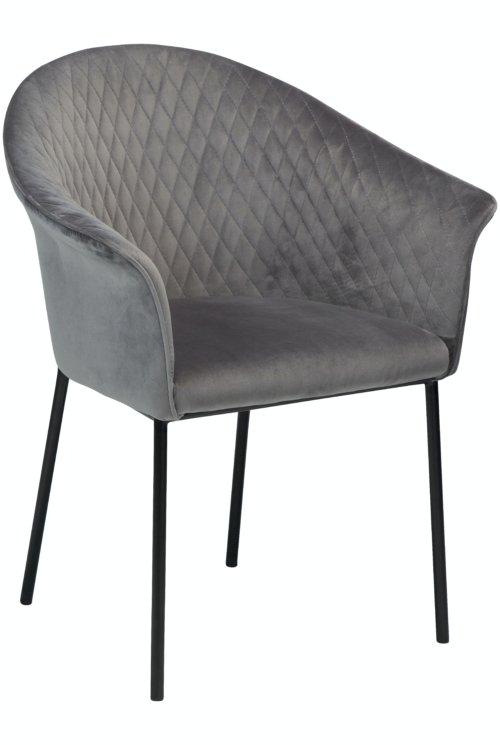 På billedet ser du variationen Kite, Spisebordsstol, Fløjl fra brandet DAN-FORM Denmark i en størrelse H: 82 cm. B: 65 cm. i farven Grå/Sort