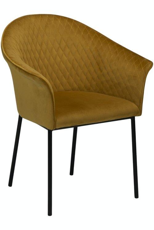 På billedet ser du variationen Kite, Spisebordsstol, Fløjl fra brandet DAN-FORM Denmark i en størrelse H: 82 cm. B: 65 cm. i farven Okker/Sort