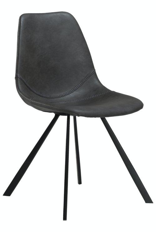 På billedet ser du variationen Pitch, Spisebordsstol, Kunstlæder fra brandet DAN-FORM Denmark i en størrelse H: 81 cm. B: 45 cm. i farven Grå/Sort