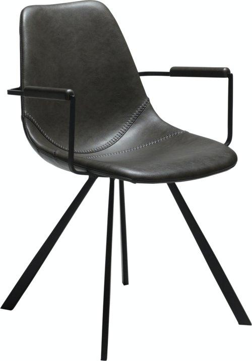 På billedet ser du variationen Pitch, Lænestol, Kunstlæder fra brandet DAN-FORM Denmark i en størrelse H: 80 cm. B: 55 cm. i farven Grå/Sort