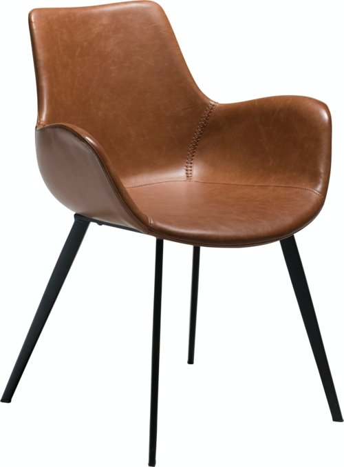 På billedet ser du variationen Hype, Spisebordsstol med armlæn, Kunstlæder fra brandet DAN-FORM Denmark i en størrelse H: 80 cm. B: 62 cm. i farven Brun/Sort