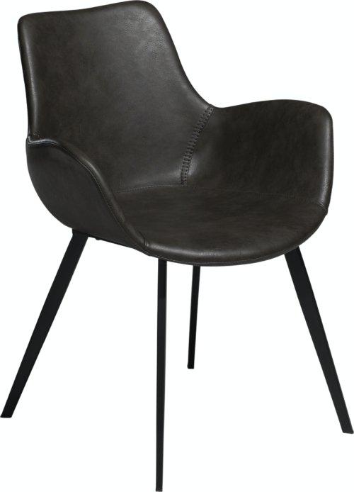 På billedet ser du variationen Hype, Spisebordsstol med armlæn, Kunstlæder fra brandet DAN-FORM Denmark i en størrelse H: 80 cm. B: 62 cm. i farven Grå/Sort