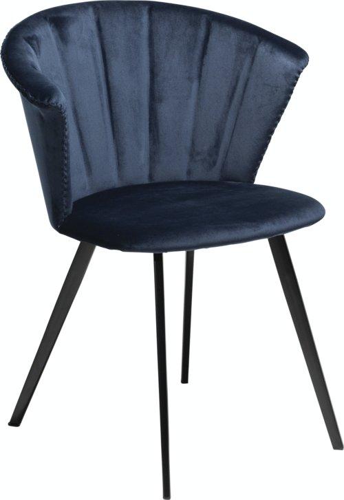 På billedet ser du variationen Merge, Spisebordsstol, Fløjl fra brandet DAN-FORM Denmark i en størrelse H: 78 cm. B: 61 cm. i farven Blå/Sort