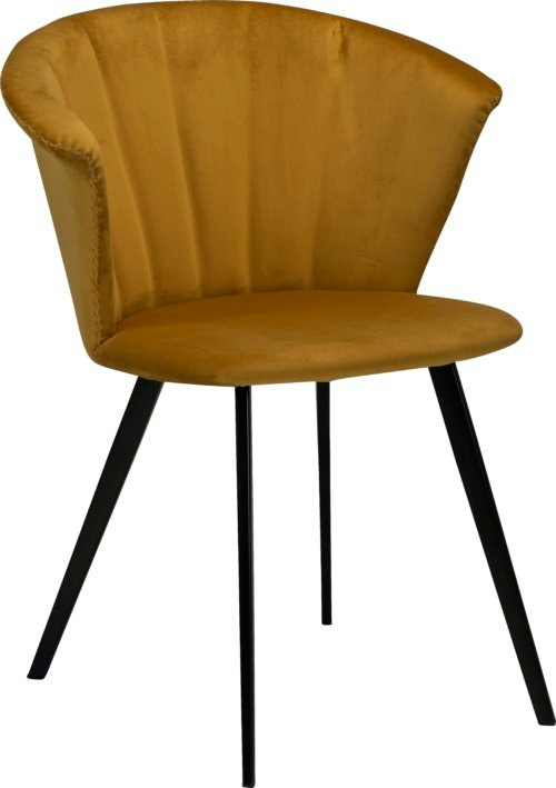 På billedet ser du variationen Merge, Spisebordsstol, Fløjl fra brandet DAN-FORM Denmark i en størrelse H: 78 cm. B: 61 cm. i farven Okker/Sort