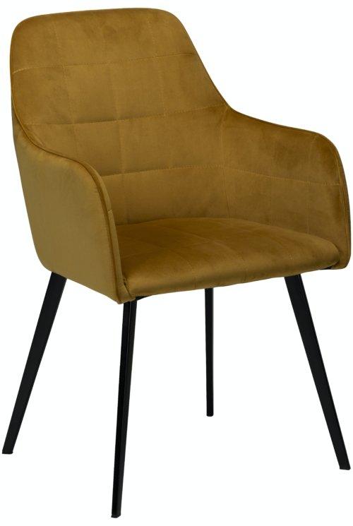 På billedet ser du variationen Embrace, Spisebordsstol med armlæn, Fløjl fra brandet DAN-FORM Denmark i en størrelse H: 84 cm. B: 55 cm. i farven Okker/Sort