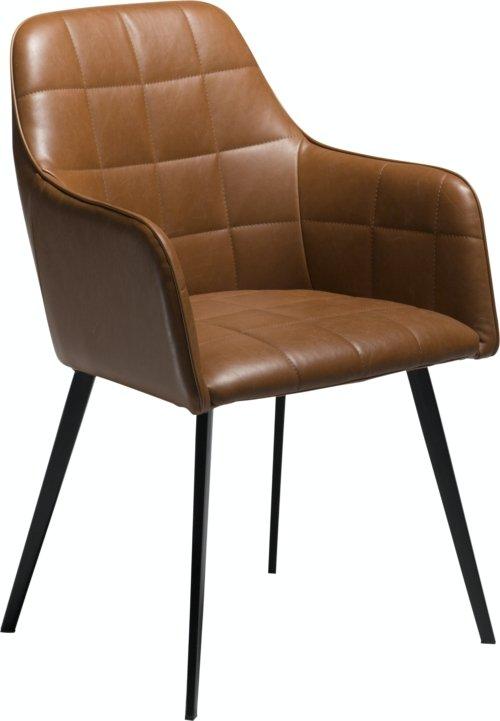 På billedet ser du variationen Embrace, Spisebordsstol med armlæn, Kunstlæder fra brandet DAN-FORM Denmark i en størrelse H: 84 cm. B: 55 cm. i farven Brun/Sort