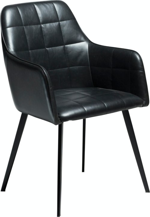 På billedet ser du variationen Embrace, Spisebordsstol med armlæn, Kunstlæder fra brandet DAN-FORM Denmark i en størrelse H: 84 cm. B: 55 cm. i farven Blå/Sort