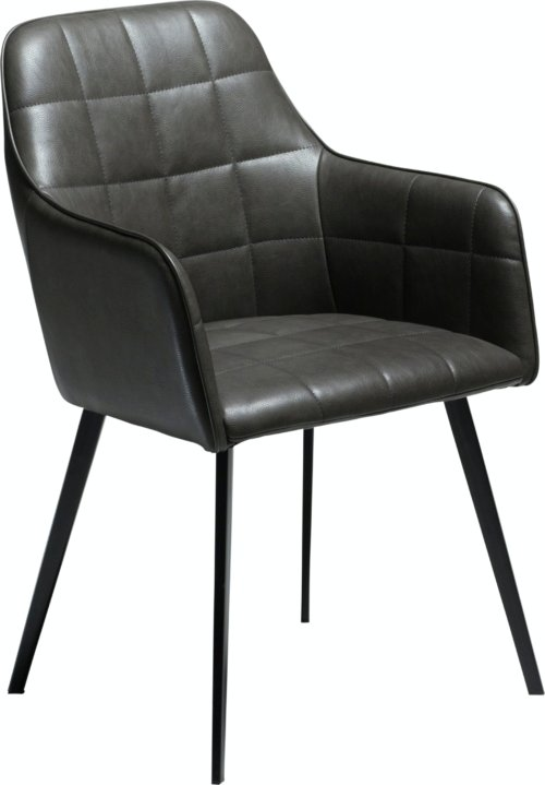 På billedet ser du variationen Embrace, Spisebordsstol med armlæn, Kunstlæder fra brandet DAN-FORM Denmark i en størrelse H: 84 cm. B: 55 cm. i farven Grå/Sort
