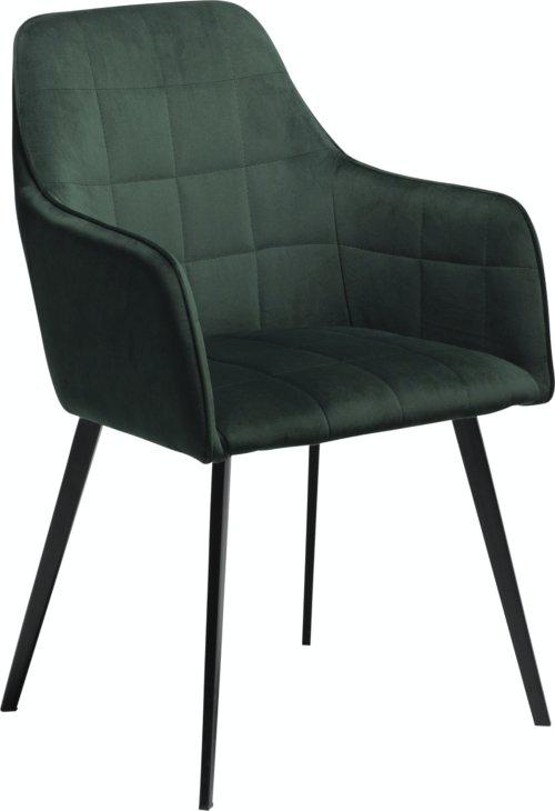 På billedet ser du variationen Embrace, Spisebordsstol med armlæn, Fløjl fra brandet DAN-FORM Denmark i en størrelse H: 84 cm. B: 55 cm. i farven Grøn/Sort