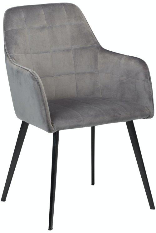 På billedet ser du variationen Embrace, Spisebordsstol med armlæn, Fløjl fra brandet DAN-FORM Denmark i en størrelse H: 84 cm. B: 55 cm. i farven Grå/Sort