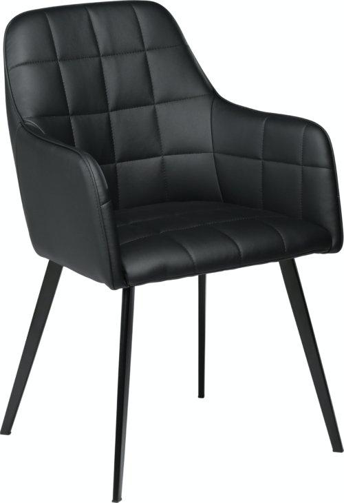 På billedet ser du variationen Embrace, Spisebordsstol med armlæn, Kunstlæder fra brandet DAN-FORM Denmark i en størrelse H: 84 cm. B: 55 cm. i farven Sort