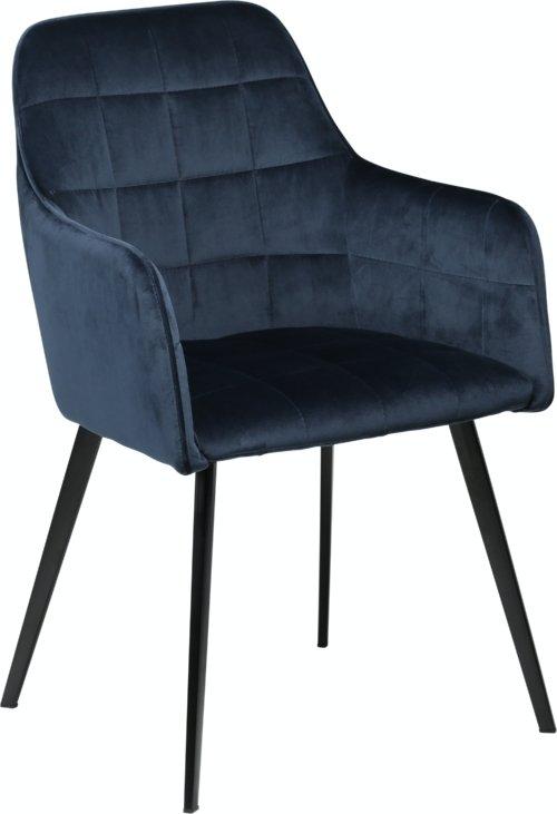 På billedet ser du variationen Embrace, Spisebordsstol med armlæn, Fløjl fra brandet DAN-FORM Denmark i en størrelse H: 84 cm. B: 55 cm. i farven Blå/Sort