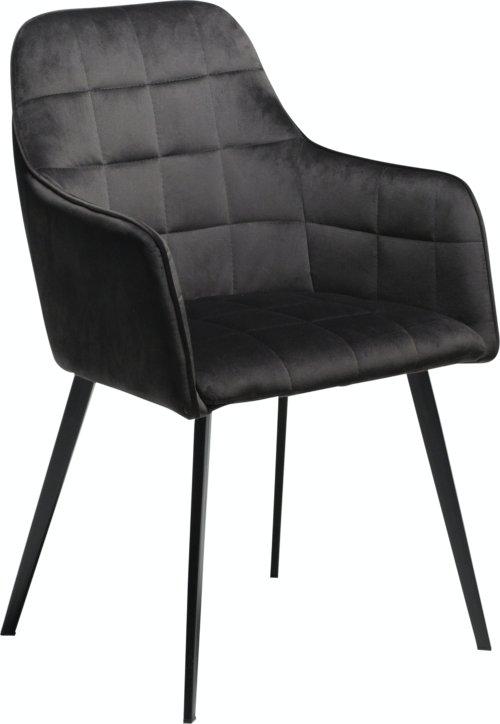 På billedet ser du variationen Embrace, Spisebordsstol med armlæn, Fløjl fra brandet DAN-FORM Denmark i en størrelse H: 84 cm. B: 55 cm. i farven Sort