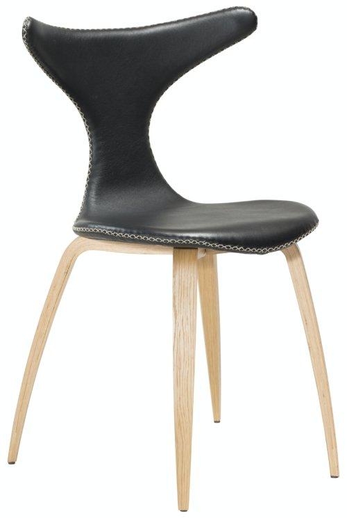 På billedet ser du variationen Dolphin, Spisebordsstol, Egetræben, Læder fra brandet DAN-FORM Denmark i en størrelse H: 83 cm. B: 55 cm. i farven Sort/Natur