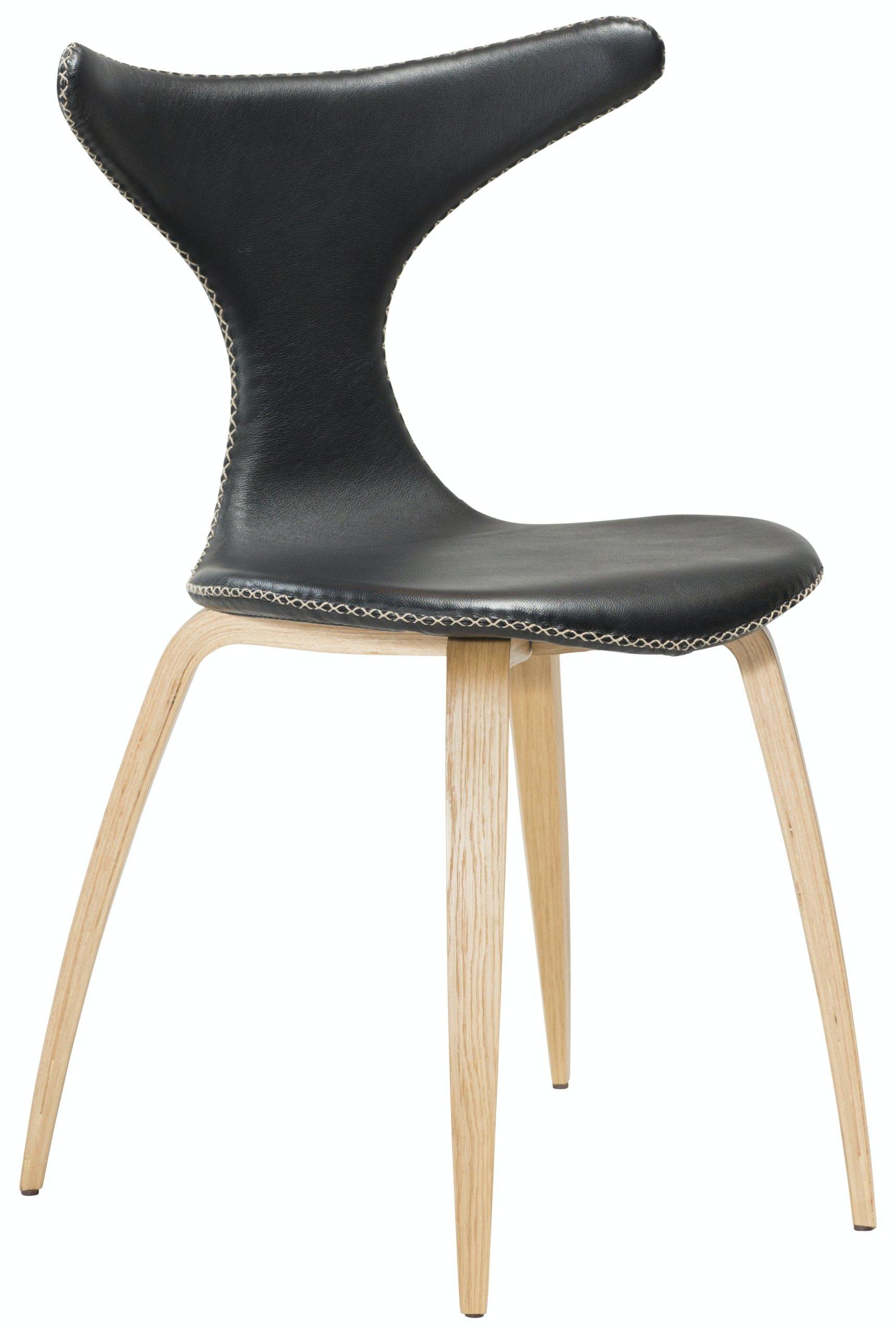 Køb Dolphin, Spisebordsstol, Egetræben, Læder by DAN-FORM Denmark (H: 83 cm. B: 55 cm., Sort/Natur)