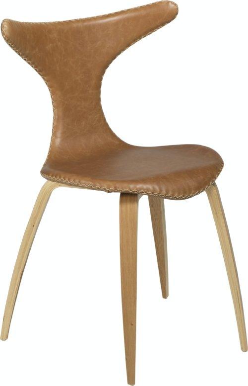 På billedet ser du variationen Dolphin, Spisebordsstol, Egetræben, Læder fra brandet DAN-FORM Denmark i en størrelse H: 83 cm. B: 55 cm. i farven Brun/Natur