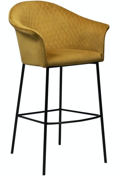 På billedet ser du variationen Kite, Barstol, Fløjl fra brandet DAN-FORM Denmark i en størrelse H: 113 cm. B: 64 cm. i farven Okker/Sort