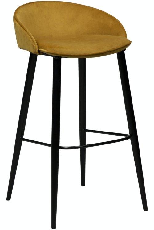 På billedet ser du variationen Dual, Barstol, Fløjl fra brandet DAN-FORM Denmark i en størrelse H: 91 cm. B: 50 cm. i farven Okker/Sort
