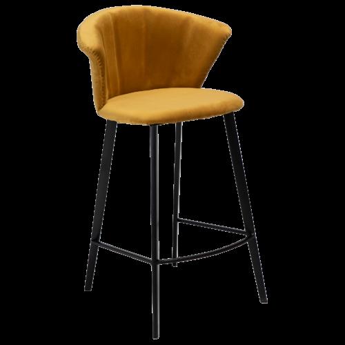 På billedet ser du variationen Merge, Barstol, Fløjl fra brandet DAN-FORM Denmark i en størrelse H: 90 cm. B: 55 cm. i farven Okker/Sort