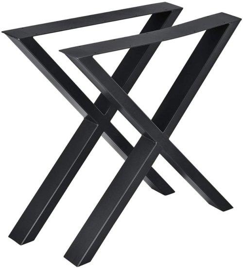 På billedet ser du variationen Oscar, X-stel, Bordben til plankebord fra brandet Nielsen Møbler i farven Sort