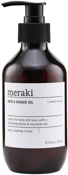 På billedet ser du variationen Bath & Shower oil, Velvet mood fra brandet Meraki i en størrelse 275 ML. i farven Sort/Hvid