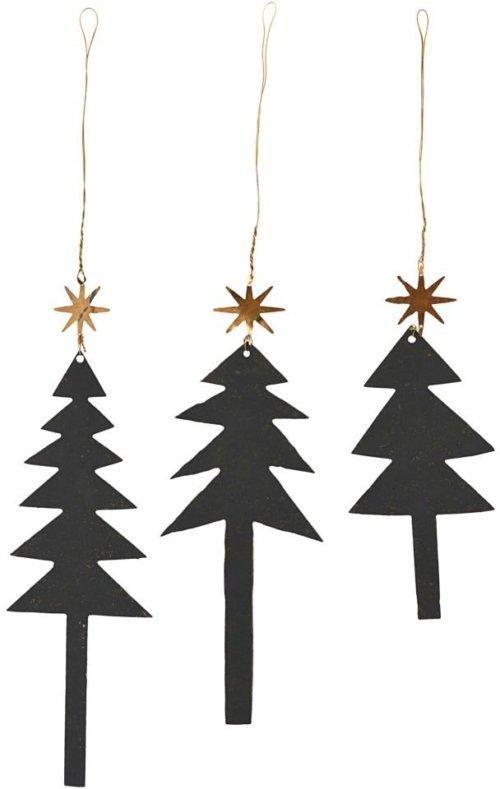 På billedet ser du variationen Julepynt, Tree w. star fra brandet House Doctor i en størrelse B: 5,5 cm. L: 13 cm. i farven Sort/Guld