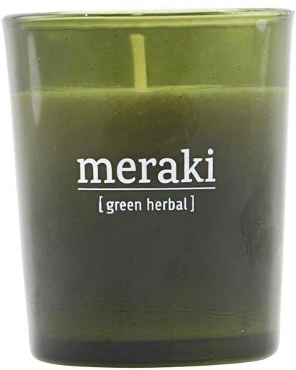 På billedet ser du variationen Duftlys, Green herbal fra brandet Meraki i en størrelse D: 5,5 cm. H: 6,7 cm. i farven Grøn