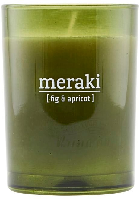 På billedet ser du variationen Duftlys, Fig & apricot fra brandet Meraki i en størrelse D: 8 cm. H: 10,5 cm. i farven Grøn