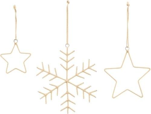 På billedet ser du variationen Julepynt, Snowflakes & Stars fra brandet House Doctor i en størrelse Sæt a 3 stk. i farven Guld