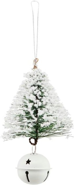 På billedet ser du variationen Julepynt, Tree & bell w. Snow fra brandet House Doctor i en størrelse H: 8 cm. B: 8 cm. L: 13 cm. i farven Hvid