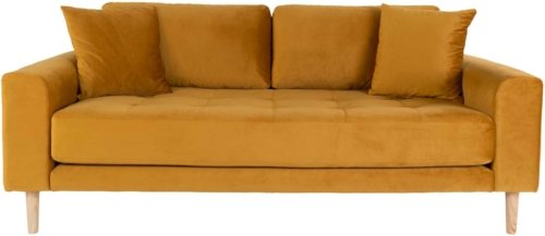 På billedet ser du variationen Lido, 2,5-personers sofa, Velour fra brandet Nordby i en størrelse H: 76 cm. B: 180 cm. L: 93 cm. i farven Sennepgul