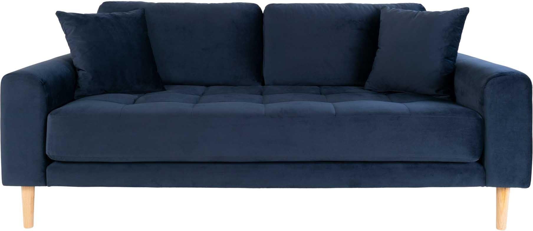 Lido, 2,5-personers sofa, Velour by Nordby (H: 76 cm. B: 180 cm. L: 93 cm., Mørkeblå)