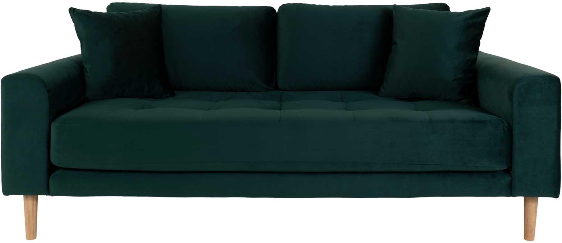 Lido, 2,5-personers sofa, Velour by Nordby (H: 76 cm. B: 180 cm. L: 93 cm., Mørkegrøn)