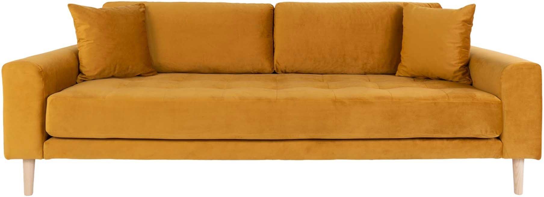 Lido, 3-personers sofa, Velour by Nordby (H: 78 cm. B: 210 cm. L: 93 cm., Mørkeblå)