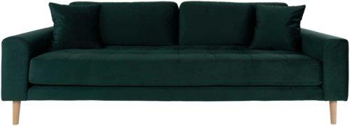 På billedet ser du variationen Lido, 3-personers sofa, Velour fra brandet Nordby i en størrelse H: 78 cm. B: 210 cm. L: 93 cm. i farven Mørkegrøn