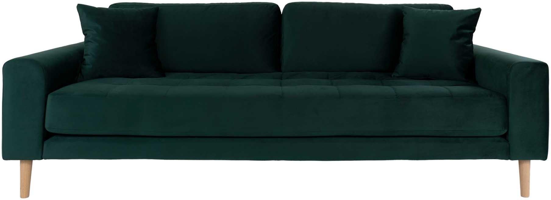 Lido, 3-personers sofa, Velour by Nordby (H: 78 cm. B: 210 cm. L: 93 cm., Mørkegrøn)