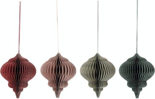 På billedet ser du variationen Ornament, Julepynt, Papir (sæt af 4 stk.) fra brandet Bloomingville i en størrelse D: 14 cm. H: 18 cm. i farven Multifarvet