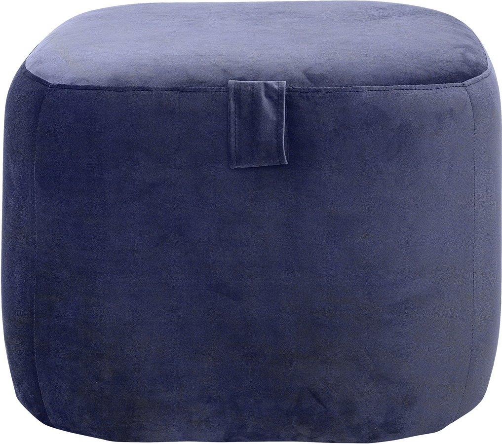 Nordic, Puf med lille hank, Polyester by Bloomingville (H: 40 cm. B: 55 cm. L: 55 cm., Blå)