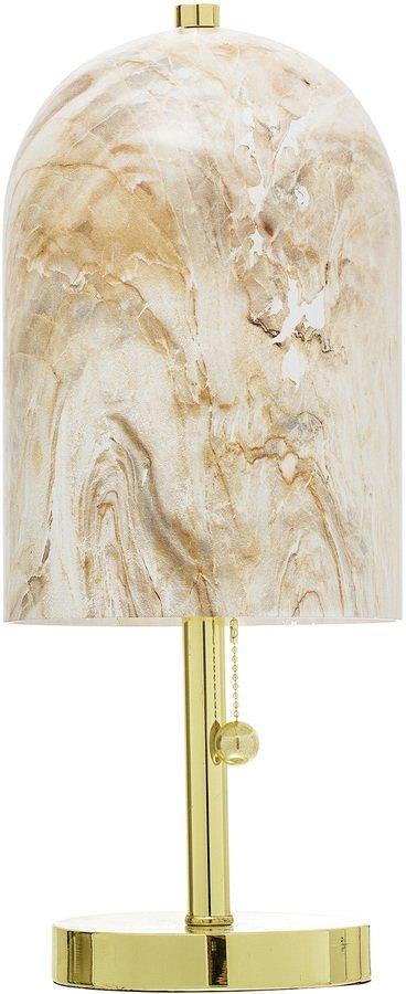 På billedet ser du variationen Ivory, Bordlampe, Marmor-look, Guldfod fra brandet Bloomingville i en størrelse D: 18 cm. H: 45 cm. i farven Natur