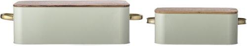 På billedet ser du variationen Cozy, Brødboks, Jern, Bambus (sæt af 2 stk.) fra brandet Bloomingville i en størrelse Sæt á 2 stk. i farven Grøn/Natur
