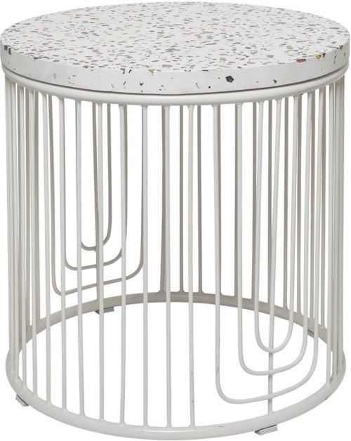 På billedet ser du variationen Ivory, Sidebord, Beton, Jern fra brandet Bloomingville i en størrelse D: 50 cm. H: 50 cm. i farven Hvid