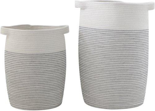 På billedet ser du variationen Ivory, Kurv, Bomuld (sæt af 2 stk.) fra brandet Creative Collection i en størrelse Sæt á 2 stk. i farven Grå