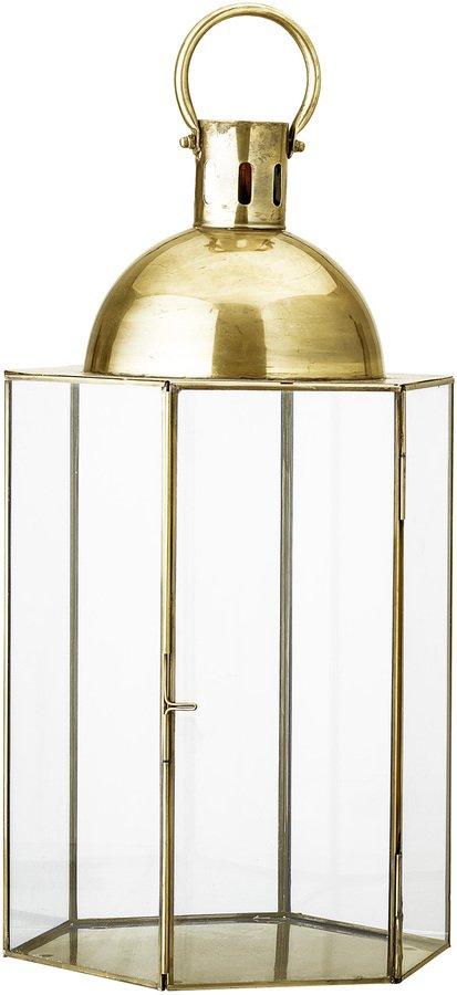 På billedet ser du variationen Cozy, Lanterne, Jern, Glas fra brandet Bloomingville i en størrelse D: 29 cm. H: 52 cm. i farven Guld