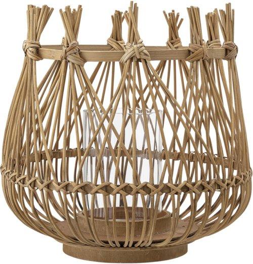 På billedet ser du variationen Cozy, Lanterne m/Glas, Bambus, Glas fra brandet Bloomingville i en størrelse D: 40 cm. H: 40 cm. i farven Natur