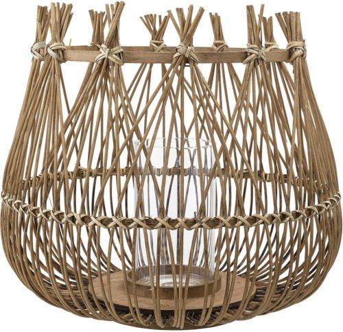 På billedet ser du variationen Nordic, Lanterne m/Glas, Bambus, Glas fra brandet Bloomingville i en størrelse D: 32 cm. H: 32 cm. i farven Natur
